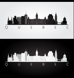 Quebec skyline and landmarks silhouette vector