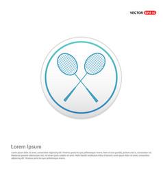 racket shuttlecock icon - white circle button vector image