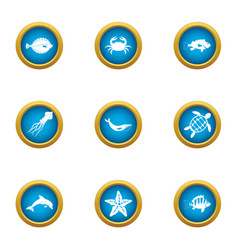 Resident depth icons set flat style vector