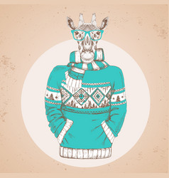 Retro hipster fashion animal giraffe vector