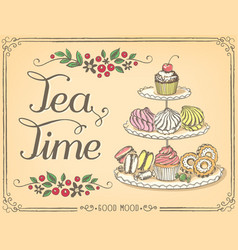 Retro time for tea with sweet pastries vector