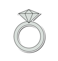 Ring with precious stone icon vector