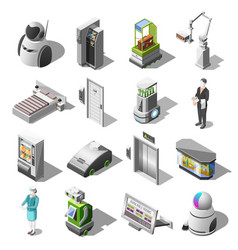 Robotized hotels isometric icons vector