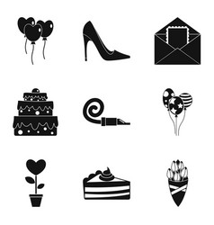Romantic time icons set simple style vector