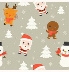 santa and arctic animal editable line detail in vector image