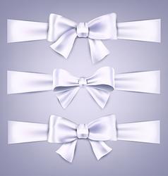 Satin white ribbons Gift bows vector image