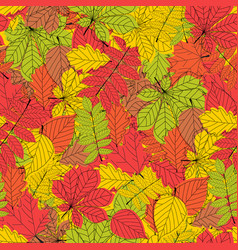 seamless pattern abstract autumn leaves background vector image