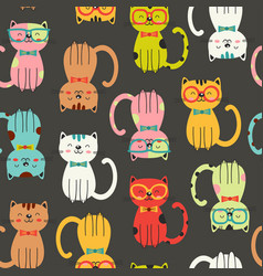 seamless pattern with colorful funny cats vector image