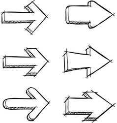 set arrows drawn vector image