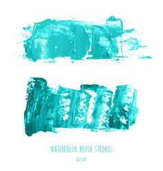 Set of turquoise blue oil painted texture vector