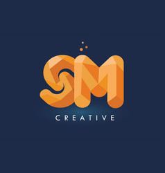 Sm letter with origami triangles logo creative vector