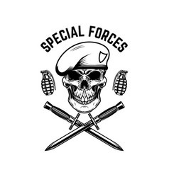 Special forces crossed knives and grenades vector