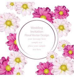 spring flowers bouquet round card background vector image
