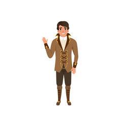 Steampunk guy waving hand man in jacket with vector
