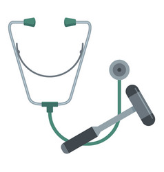 Stethoscope and hammer icon flat style vector