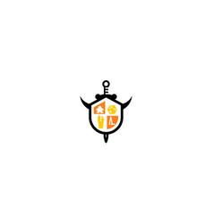 sword games shield logo icon vector image