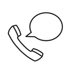 talking phone icon with simple black line vector image