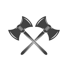 Two crossed battleaxes battle axes Black on white vector
