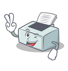 Two finger printer character cartoon style vector