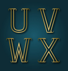 u v w x shiny golden letters with shadow vector image