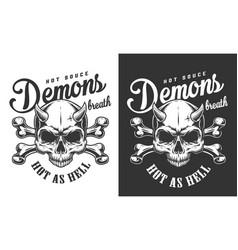 vintage monochrome demon skull logotype vector image