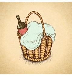 Vintage picnic basket vector