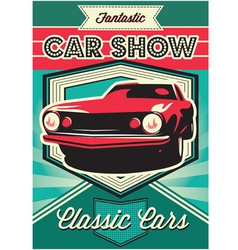 Vintage poster for the exhibition of cars vector image