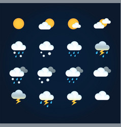 weather icons sun and clouds in sky rain with vector image