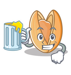 With juice pistachio nut mascot cartoon vector