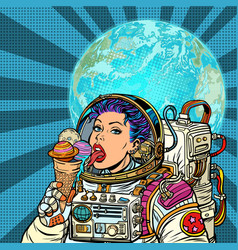 woman astronaut eats planets of the solar system vector image