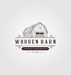 Wooden barn logo vintage design vintage farm logo vector