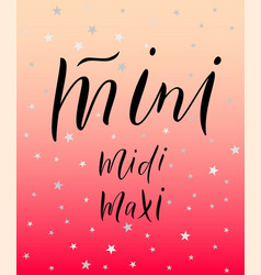 Words mini midi maxi vector