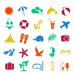 colorful summer icons on white background vector image
