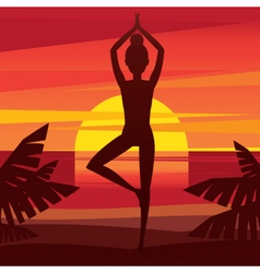 Girl meditating on the coast at sunset vector image vector image