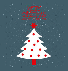 merry christmas and happy new year white tree pine vector image