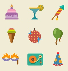 Party color icon set vector image vector image