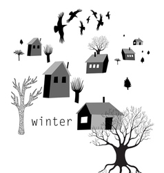 village and crows in winter vector image vector image