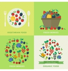Banners with fresh berries and fruits Vegetarian vector image