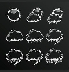 chalkboard collection clouds icon sketch cloud vector image vector image