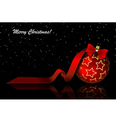Christmas red balls on black vector image vector image