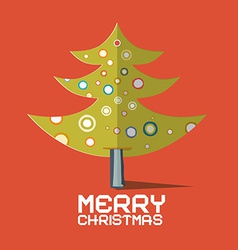 Christmas Tree Made from Paper on Red Retro vector image