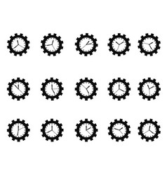 gear clock icons set vector image