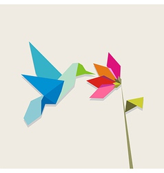 Origami hummingbird and flower on pastel vector image vector image