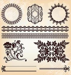 set of vintage floral pattern elements vector image vector image