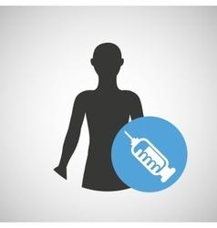 silhouette man health icon syringe vector image