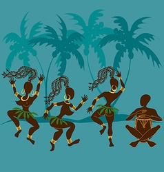 Dancing African aborigine girls and drummer vector image vector image