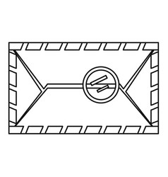 envelope with postage stamp icon outline style vector image