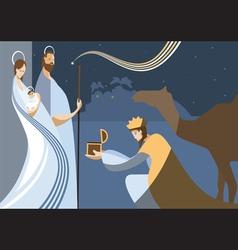 flat nativity scene vector image