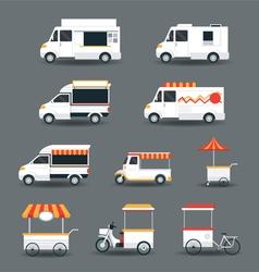 Food vehicles truck van pushcart white body vector