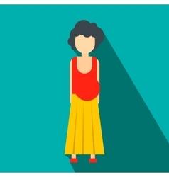 Pregnant woman flat icon vector
